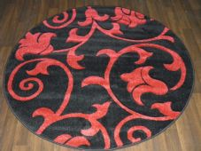 MODERN  140X140CM CIRCLE RUGS WOVEN BACK HAND CARVED BLACK/RED DEMASK RANGE
